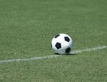 Lonely soccer ball Royalty Free Stock Photo