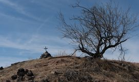 Lonely southwestern New Mexico cairn. stock photo