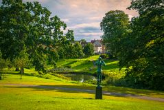 Lonely statue in a park in Aarhus, Denmark Royalty Free Stock Photography
