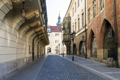 Lonely street in the old city of Prague Stock Image