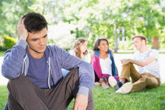 Lonely student feeling excluded on campus Stock Photo