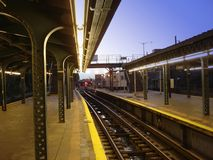 Lonely Subway Station. At dusk Stock Image