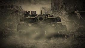 Lonely tank rides through the ruined city during the zombie apocalypse. stock footage