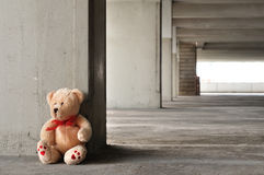 Lonely teddy bear. A sad and lonely Teddy Bear sittng on the ground waiting for somebody to play with him Royalty Free Stock Photography
