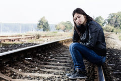 Lonely teenage girl Royalty Free Stock Images
