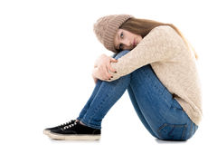 Lonely teenage girl with bored look Royalty Free Stock Photography