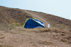Lonely tent in the mountains Royalty Free Stock Photo