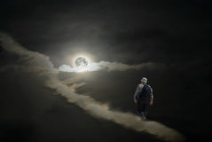 Lonely tourist having a hike to the Moon Stock Photos