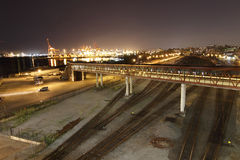 Lonely train yard by the busy docks Stock Image