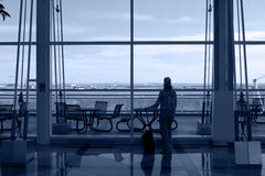 Lonely traveller waiting Royalty Free Stock Photography