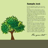 Lonely tree. Abstract colorful illustration with a lonely tree filled with green leaves Royalty Free Stock Image