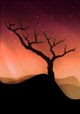 The lonely tree. Scenery royalty free illustration