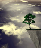 Lonely tree abstract surreal illustration. Royalty Free Stock Image
