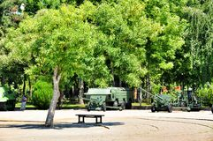 Lonely tree and a bench in the Museum of military glory royalty free stock photography