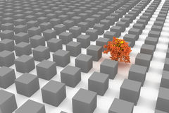 Lonely tree among the cubes Royalty Free Stock Photos