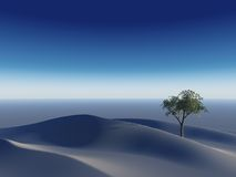 Lonely Tree on Deseret. A clear blue surreal 3d desert landscape with a lonely Tree Stock Photography