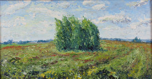 Lonely tree in a field, clouds, wind. Original oil painting lonely tree in a field, clouds, wind on canvas. Impasto artwork. Impressionism art Royalty Free Stock Images
