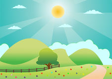 Lonely tree on the green field vector illustration