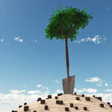 Lonely tree growth from handle of spade Royalty Free Stock Photo