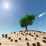 Lonely tree in the middle of stumps. 3d Stock Images