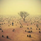 Lonely tree in the middle of stumps. Illustration Royalty Free Stock Photo