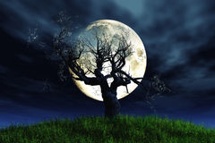 Lonely tree moonlight 3D render Royalty Free Stock Photos