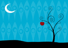 Lonely tree in the night on blue background. Vector art Stock Images