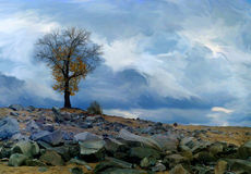 Lonely tree on a rocky hill overcast day. Rocky hill landscape with a lone tree on a cloudy day. Photo stylized painting Vector Illustration