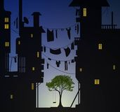 Lonely tree with swing inside big city vector illustration