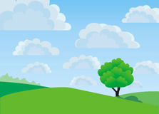 Lonely tree, vector Stock Photo
