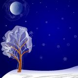 Lonely tree on a winter night Stock Photo
