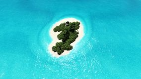 Lonely tropical island 3D render Stock Photo
