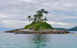 Lonely tropical island in the ocean with rocks and palms stock photo