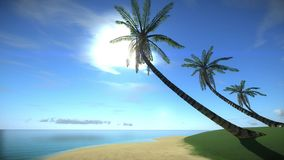 Beach of tropical island in the summertime stock illustration