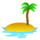 Lonely tropical sandy island  clip art Royalty Free Stock Images
