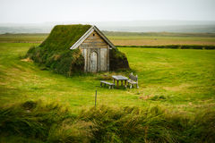 Lonely turf house. The traditional icelandic turf houses offer superior isolation from cold climate Stock Photography