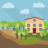 A lonely two-storey house surrounded by green trees Royalty Free Stock Photo