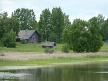 Lonely village on the lakeside. Summer view of lonely village on the lakeshore in the midland of Russia royalty free stock photo