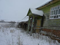 Lonely village in the midland of Russia. November landscape in a lonely village in Russia Stock Images