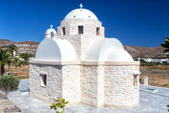 Lonely white church at Paros island Royalty Free Stock Images