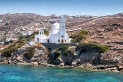 Lonely white church at Paros island Stock Image