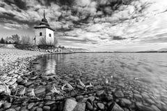 Chapel on the shore of lake Liptovska Mara,Slovakia royalty free stock images