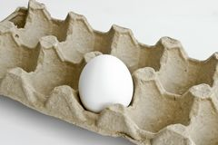 Lonely white egg in the carton package for eggs. From the chicken farm royalty free stock images