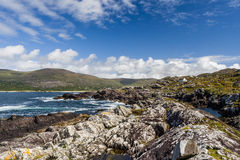 Lonely white house at Derrynane Bay Royalty Free Stock Photos