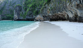 Lonely white sand beach Stock Photos