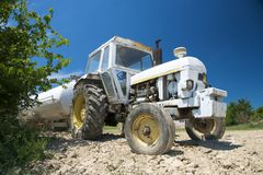Lonely white tractor Royalty Free Stock Images