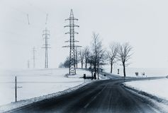 Lonely winter landscape with crossroads and the way out Stock Photo