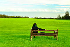 Lonely Woman. Staring the sea Stock Photography