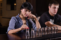 Lonely woman alcoholic stock photos
