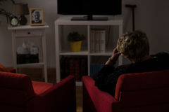 Lonely woman alone at home royalty free stock photos